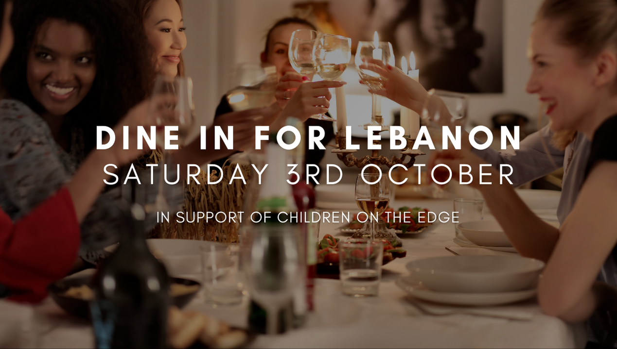 Dine in for Lebanon, friends enjoying dinner