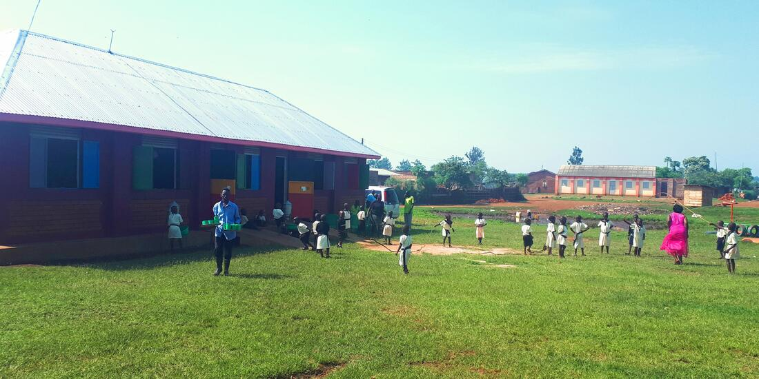 Children playing outside Wandago ECD Centre